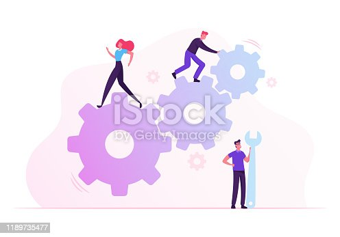 Team Work Cooperation in Gears Mechanism. Businesspeople Engaged in Business Direction to Successful Path Move Huge Cogwheel Machine Man Technician Support Hold Wrench Cartoon Flat Vector Illustration