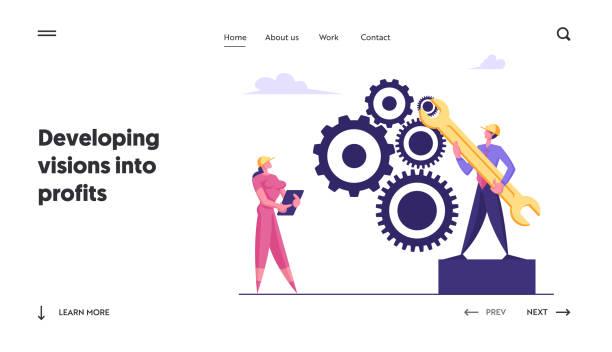 기어 메커니즘 웹 사이트 방문 페이지에서 팀 작업 협력. 비즈니스 디렉션에 종사하는 기업인은 성공적인 경로 이동 cogwheel 기계 웹 페이지 배너를 이동합니다. 만화 플랫 벡터 일러스트 - 모자 모자류 stock illustrations