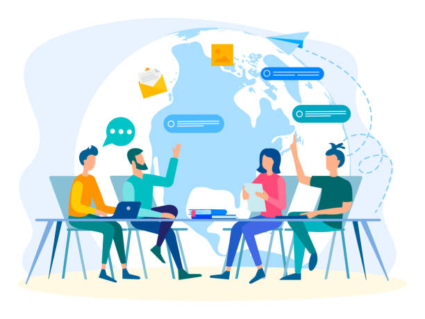 team work in communication with the whole world - group of people stock illustrations
