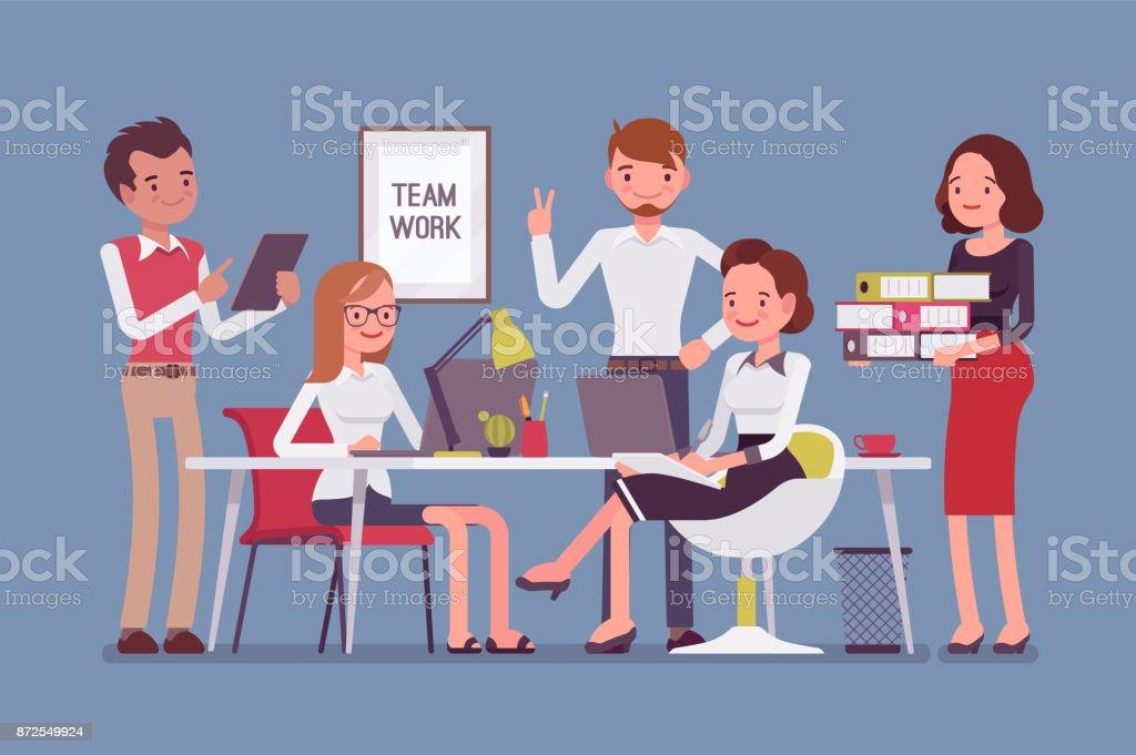 Team work in office vector art illustration