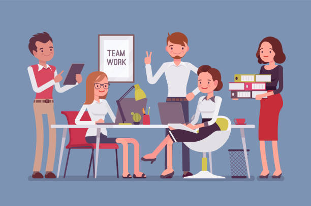 Team work in office Team work in office. Group of smart happy young people training and sharing business ideas to achieve results in the efficient way. Vector flat style cartoon illustration isolated on blue background staff meeting stock illustrations