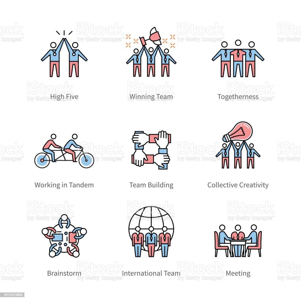 Team work, management, business concept symbols vector art illustration