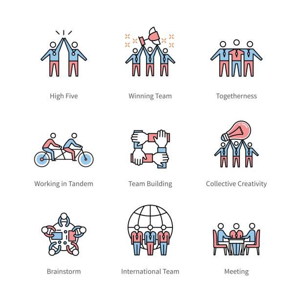 team work, management, business concept symbols - team stock illustrations, clip art, cartoons, & icons