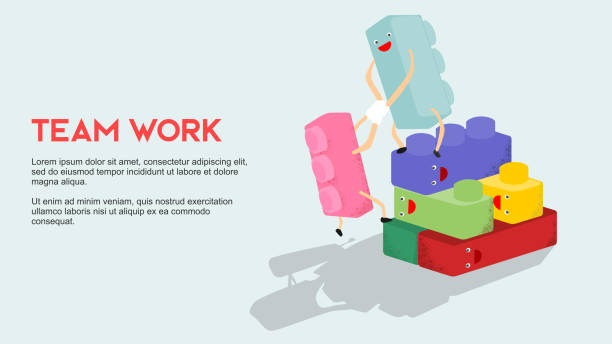 stockillustraties, clipart, cartoons en iconen met team werk metafoor groep van lego blok met blij gezicht elkaar te maken een sterke gebouw te helpen - lego