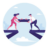 Team Work Metaphor. People Put Piece of Metal Construction for Making Bridge. Teamwork Cooperation. Male and Female Characters Partnership and Compromise in Business. Cartoon Flat Vector Illustration