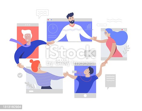 istock Team work online video conference. Friendly and togetherness team. Isolation online meeting. Corporate distant discussion. Flat vector illustration concept. 1313182934