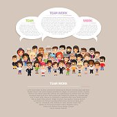 Team work poster with big group of casually dressed flat cartoon people. Clipping paths included.