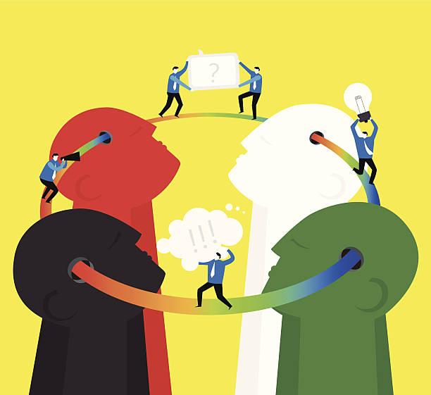 Team work : Think together vector art illustration