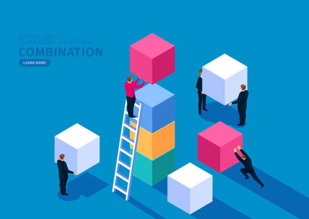 ilustrações, clipart, desenhos animados e ícones de equipe de trabalho em conjunto para construir blocos - bloco