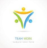 Team work vector design template. Creative social network icon.