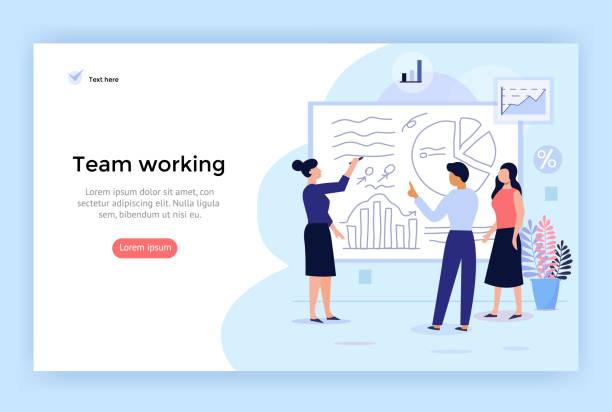team-arbeitskonzept illustration. - flipchart stock-grafiken, -clipart, -cartoons und -symbole