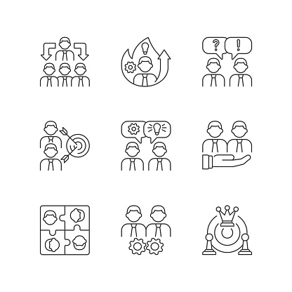 Team working linear icons set