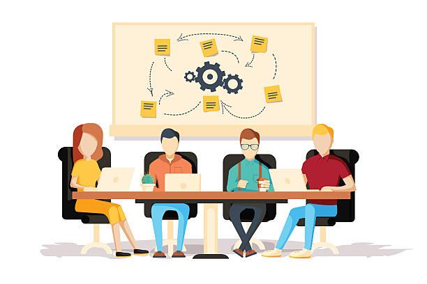 Team working together on a big IT startup business. vector art illustration