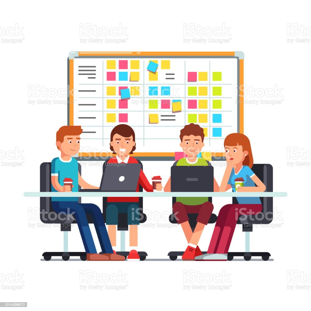Team working together on a IT startup business. Flat vector clipart illustration vector art illustration