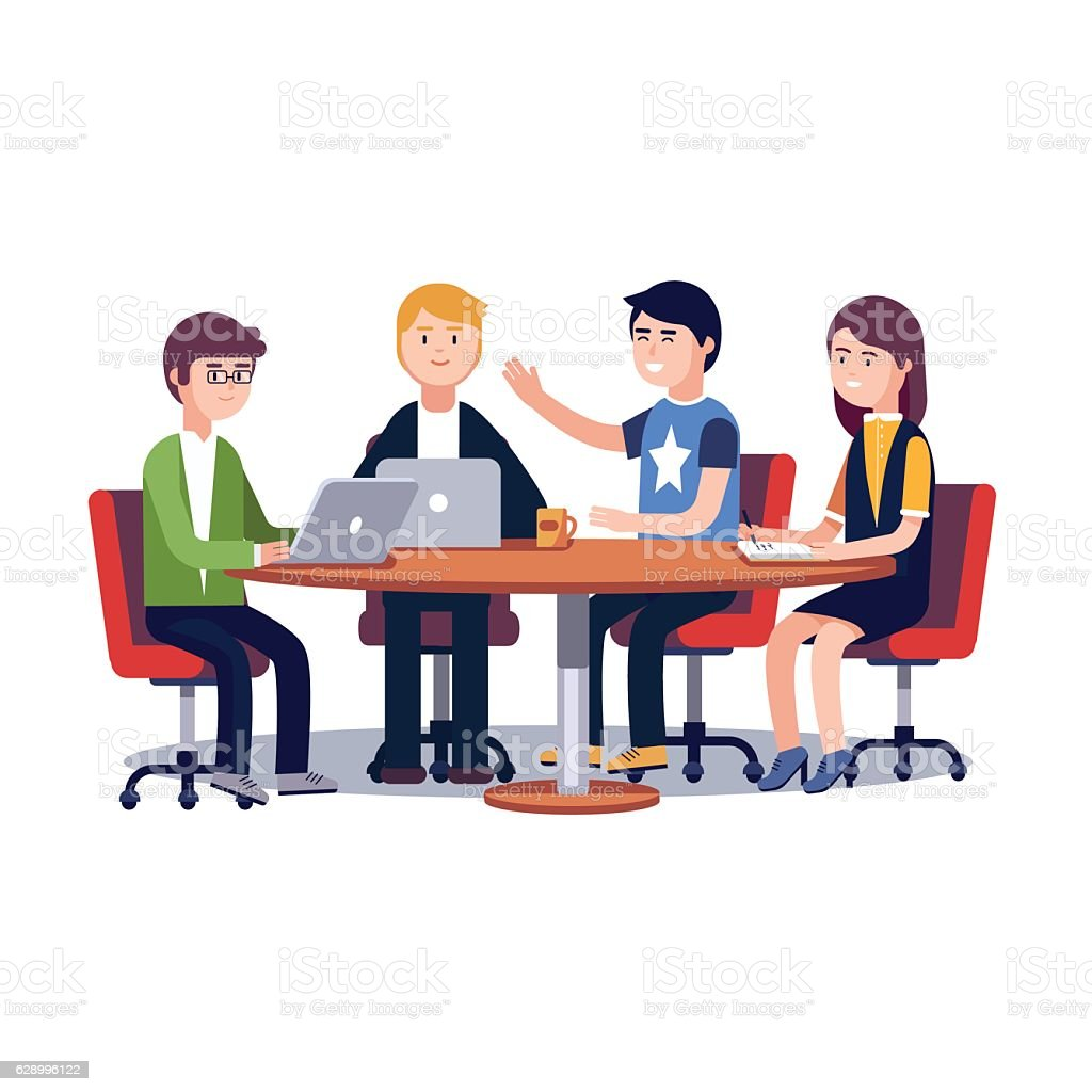 Team working together on a IT startup business vector art illustration