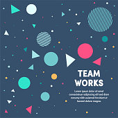 Modern design layout template for team works cover design for web banner or print advertising with abstract background.