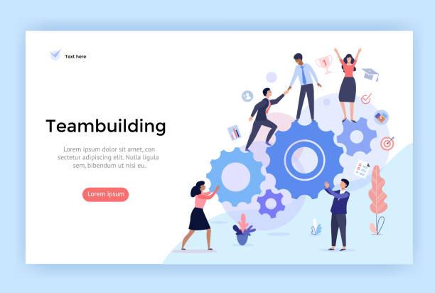 Teambuilding concept illustration. Teambuilding concept illustration, perfect for web design, banner, mobile app, landing page, vector flat design collaboration stock illustrations