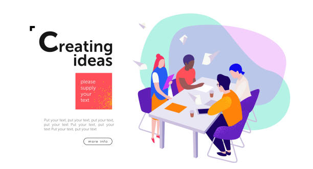 teamwork, a group of businessmen sit at a table and create new ideas for a start-up, communicate among themselves in the areas of marketing, design and advertising, vector flat isometry illustration vector art illustration