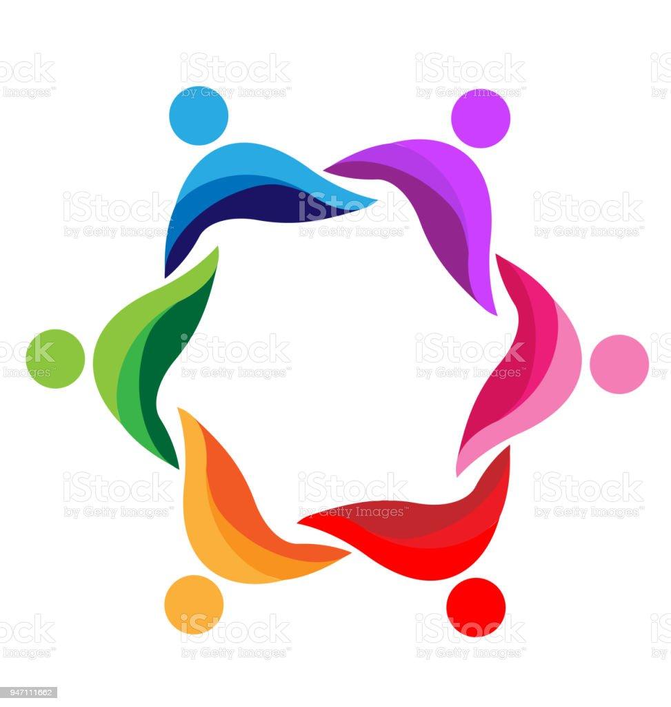 Ilustración de Trabajo En Equipo Personas Resumen Icono Diseño ...