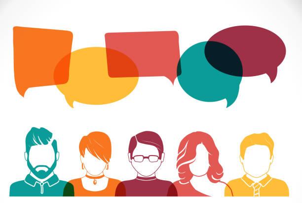 Teamwork and brainstorm Men and women avatar profile picture set. Businessman, coworkers, team, think, Question. Idea, Brainstorm Business concept vector illustration five people stock illustrations
