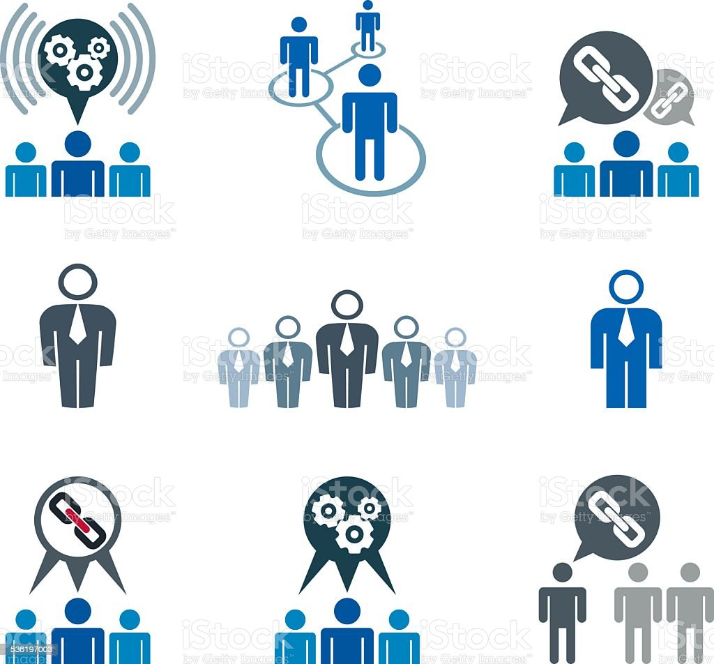 teamwork and business cooperation theme vector icons set stock