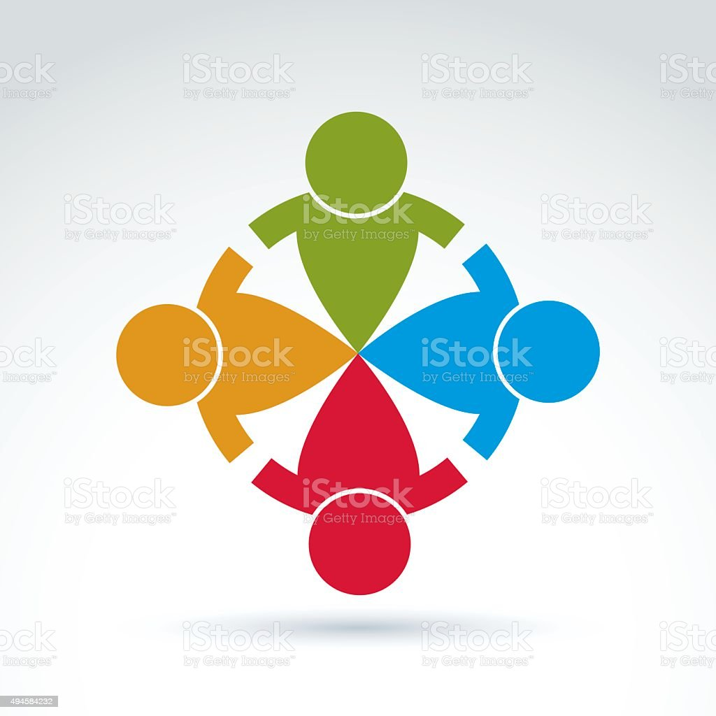 Teamwork and business team and friendship icon, social group vector art illustration