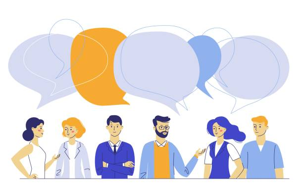 teamwork and communication concept with young man and woman talking together - język all vocabulary stock illustrations