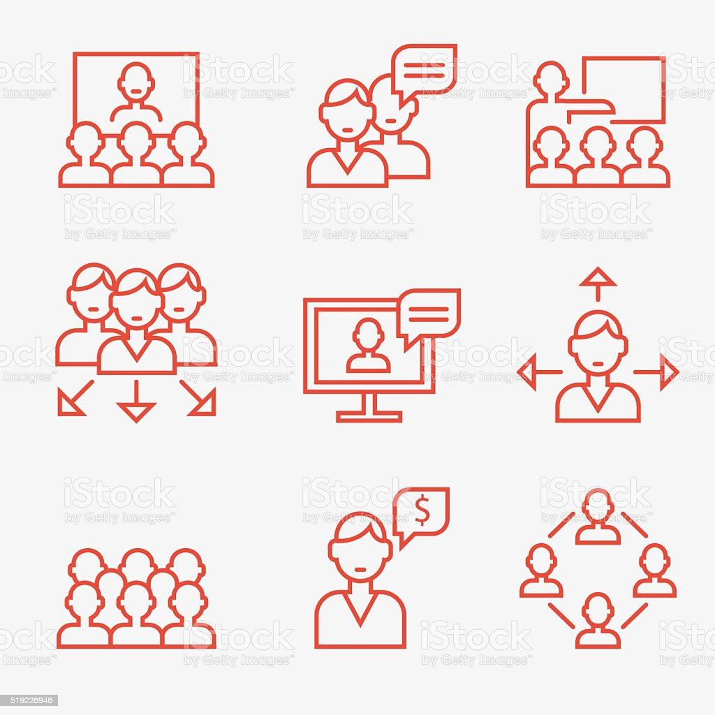 Travail d'équipe et de la communication icons - Illustration vectorielle