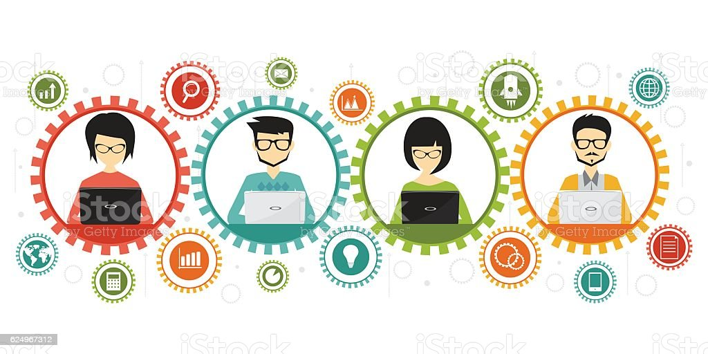 teamwork and coworking business concept, flat design style vector art illustration