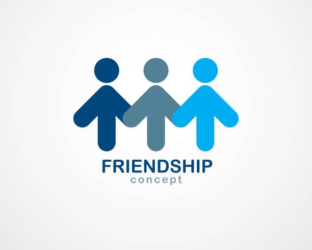 stockillustraties, clipart, cartoons en iconen met teamwork en vriendschap concept gemaakt met eenvoudige geometrische elementen als een bemanning van mensen. vector pictogram. eenheid en samenwerking idee, droom team van zakelijke blauw ontwerp. - drie personen