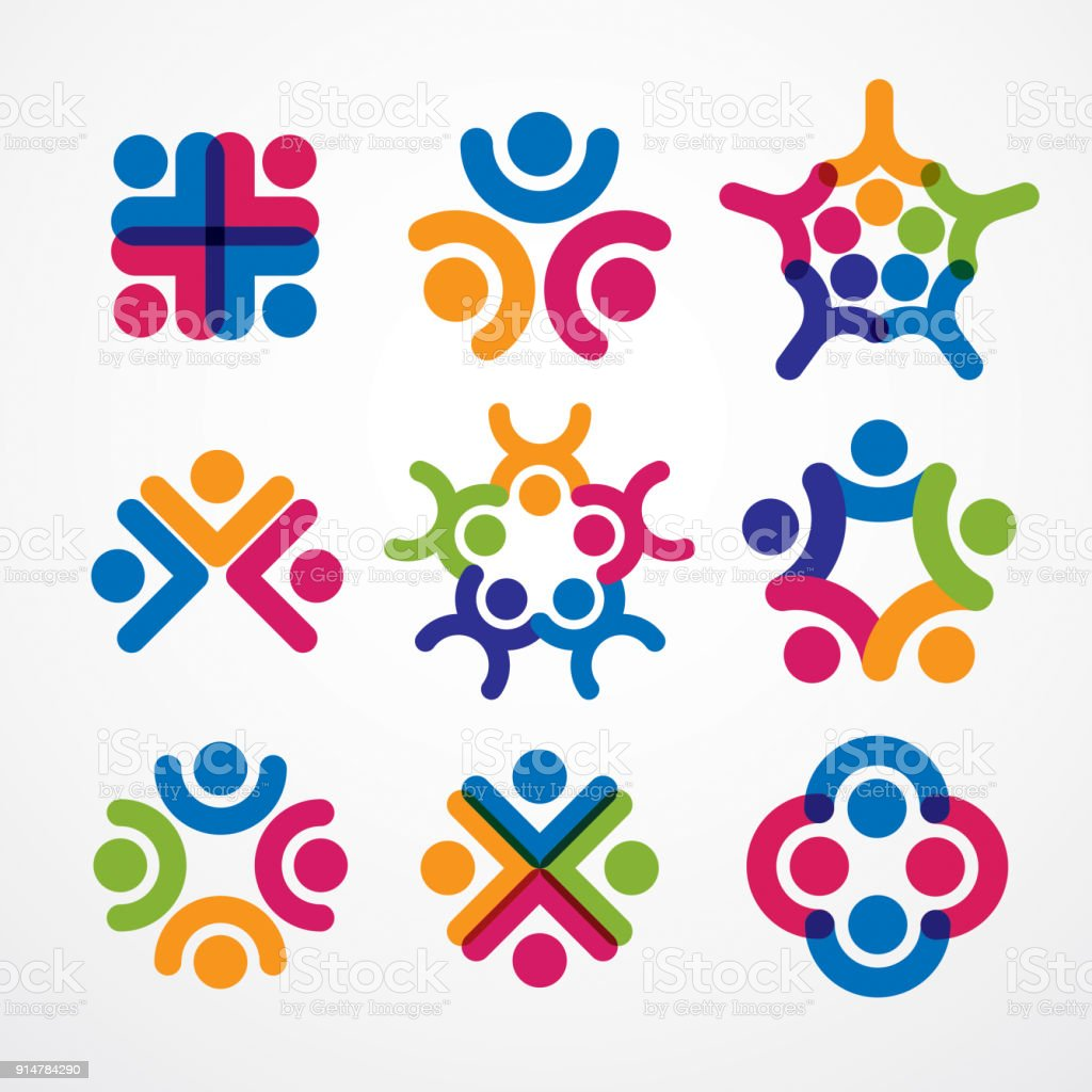 Teamwork and friendship concepts created with simple geometric elements as a people crew. Vector icons set. Unity and collaboration ideas, dream team of business people colorful designs. vector art illustration