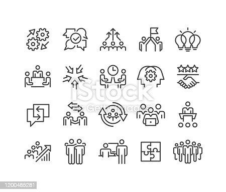 istock Teamwork and Interaction Icons - Classic Line Series 1200485281