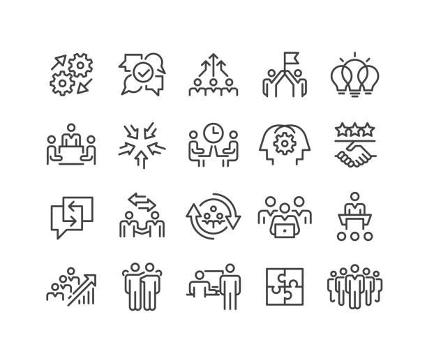 Teamwork and Interaction Icons - Classic Line Series Teamwork, Interaction, Business, continuity stock illustrations