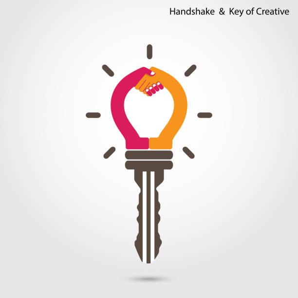 teamarbeit und partnerschaft concept.way von target achievement.handshake und business - - mann tür heimlich stock-grafiken, -clipart, -cartoons und -symbole