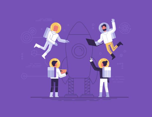Teamarbeit und Start-up-Konzept – Vektorgrafik