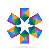 Teamwork arrows star shape icon