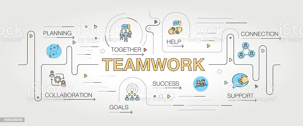 Teamwork banner and icons vector art illustration