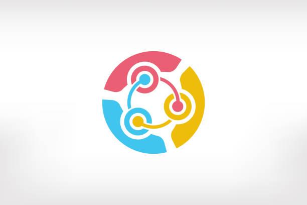 ilustrações de stock, clip art, desenhos animados e ícones de teamwork brainstorm of ideas people logo - three persons - future hug