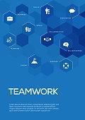 Teamwork. Brochure Template Layout, Cover Design