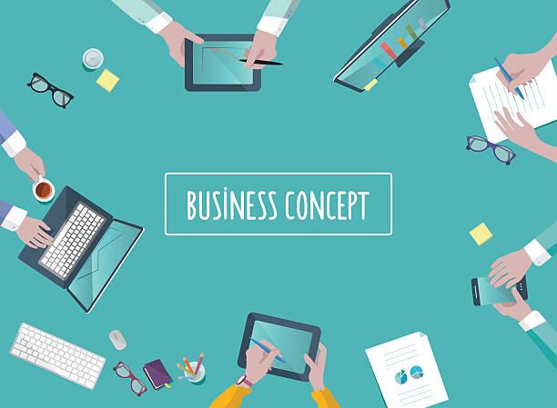 ilustrações de stock, clip art, desenhos animados e ícones de trabalho em equipacomment negócios conceito no quadro do plano de estilo - business meeting