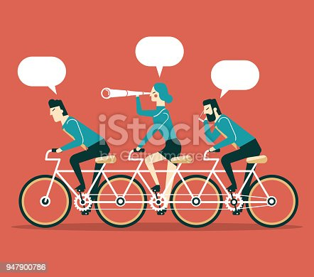 Business team cycling. Business illustration