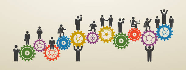 Teamwork, business people in motion, workforce. Concept business people on gear wheels. Teamwork, business people in motion, workforce. Concept business people on gear wheels. Motivation for success. recruiter stock illustrations