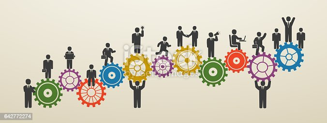 teamwork business people in motion workforce concept