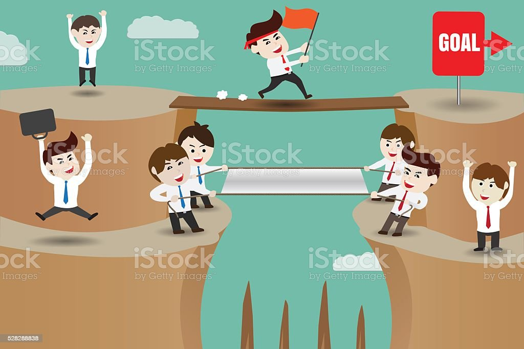 Teamwork, businessman helping to achieve the goal vector art illustration