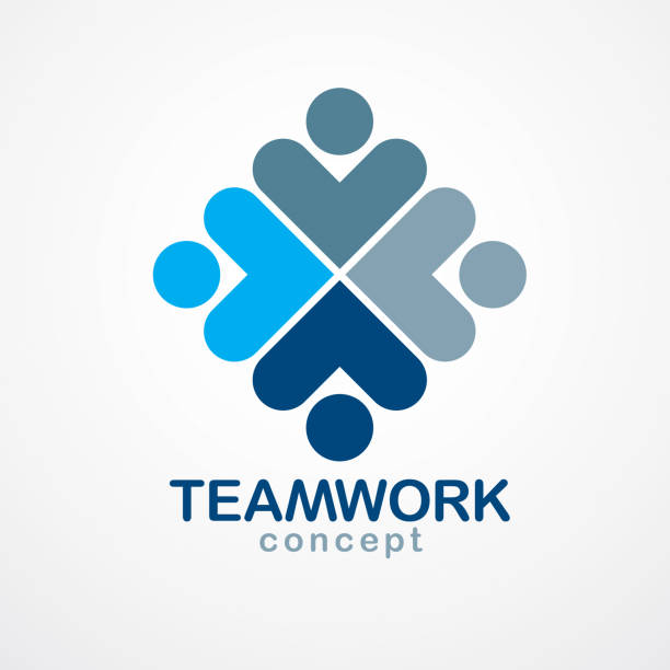 Teamwork businessman unity and cooperation concept created with simple geometric elements as a people crew. Vector icon. Friendship dream team, united crew blue design. Teamwork businessman unity and cooperation concept created with simple geometric elements as a people crew. Vector icon. Friendship dream team, united crew blue design. four people stock illustrations