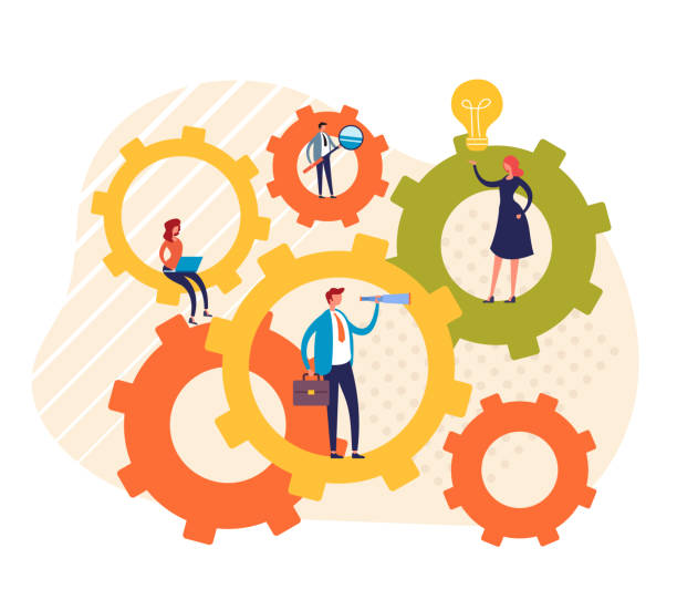 Teamwork Geschäftsleute Büroarbeiter Konzept. Vektor-Grafik-Design flache Cartoon-Illustration – Vektorgrafik
