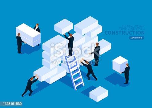 Teamwork carrying brick building wall