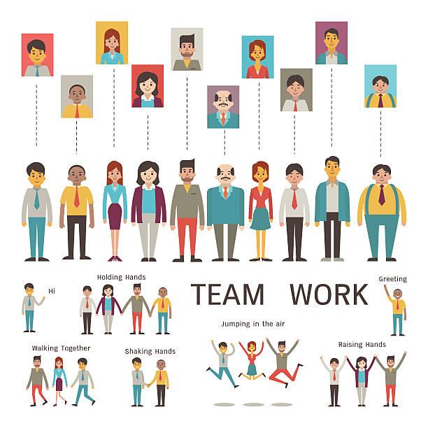 Teamwork character vector art illustration