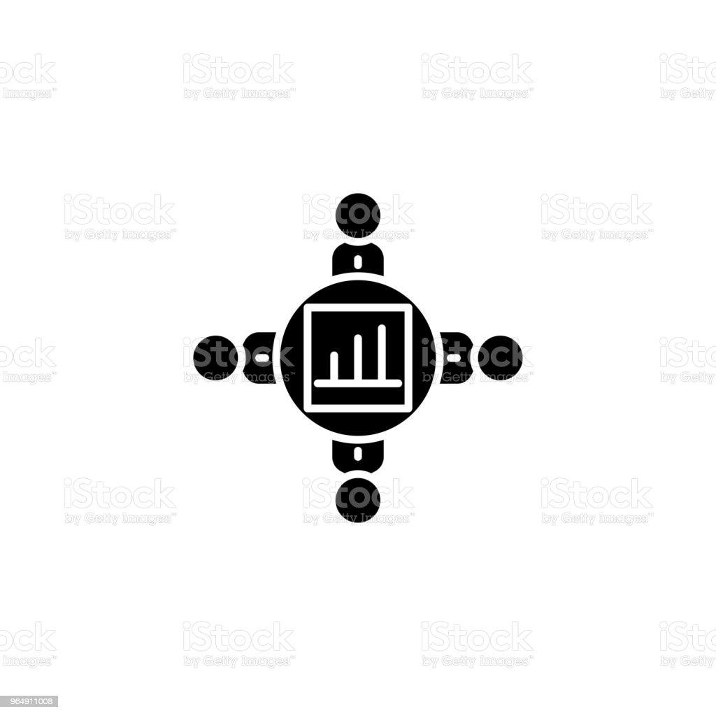 團隊協作黑色圖示概念。團隊協作平面向量符號, 符號, 插圖。 - 免版稅一起圖庫向量圖形