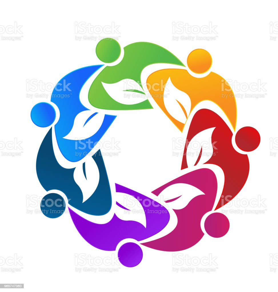 Teamwork colorful people ecology leafs business icon id card vector image - Royalty-free Assistance stock vector